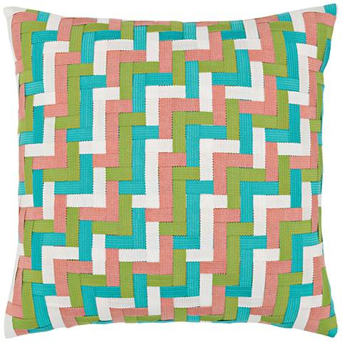 "Lily Basketweave 20"" Square Indoor-Outdoor Pillow"