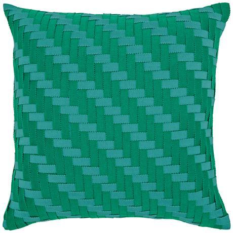 """Emerald Basketweave 20"""" Square Indoor-Outdoor Pillow"""
