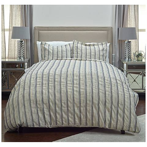Vincent III Blue and Natural Linen Duvet