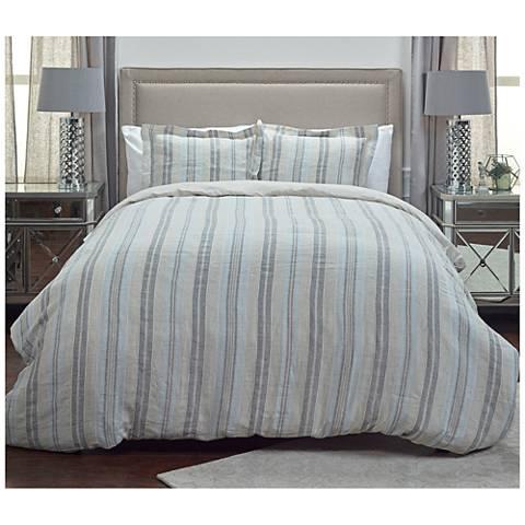 Terrance Multi-Color Gray Stripe Linen Duvet