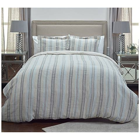 Terrance Multi-Color Gray Stripe Linen Duvets and Shams
