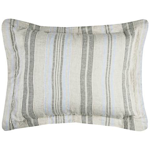 Terrance Multi-Color Gray Stripe Linen Duvet
