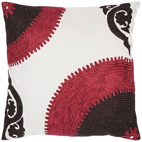 "Kenna Pink and Brown Sunrise Stitch 18"" Square Throw Pillow"