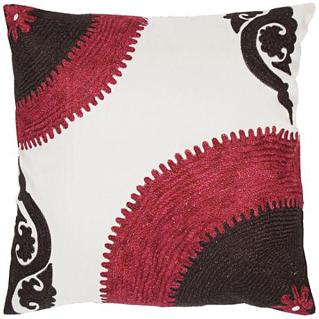 """Kenna Pink and Brown Sunrise Stitch 18"""" Square Throw Pillow"""