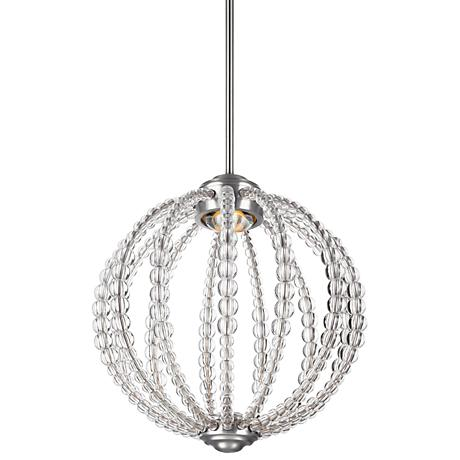 "Feiss Oberlin 14"" Wide Satin Nickel LED Pendant Light"