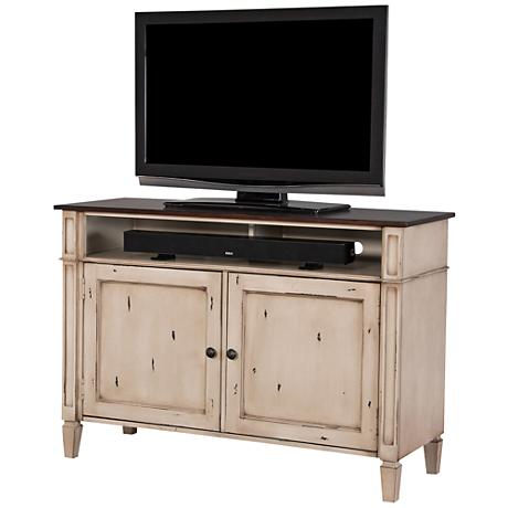 Baldwin Antique Powder White 2-Door Small Wood TV Console