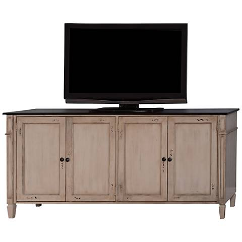 Baldwin Antique Powder White 4-Door Large Wood TV Console