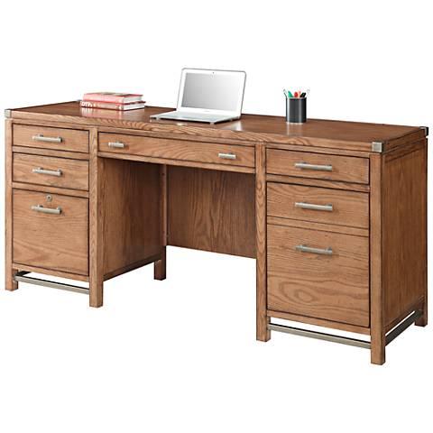 Arcadia Tuscan Chestnut Pedestal Desk 4-Drawer Credenza