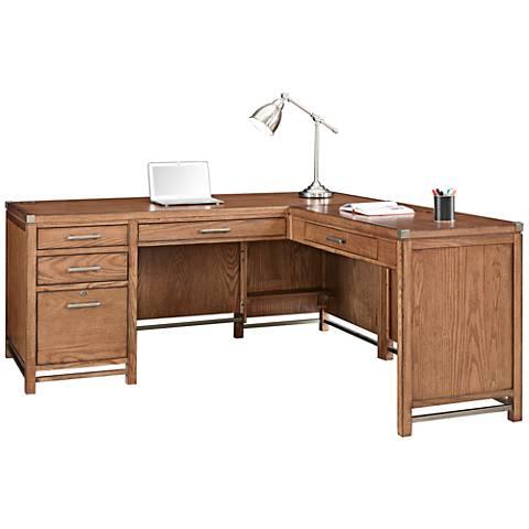 Arcadia Tuscan Chestnut L-Shape Large Home Office Desk