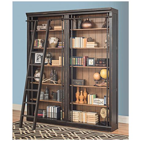 Toulouse Aged Ebony 6-Shelf Home Library 2-Bookcase Wall