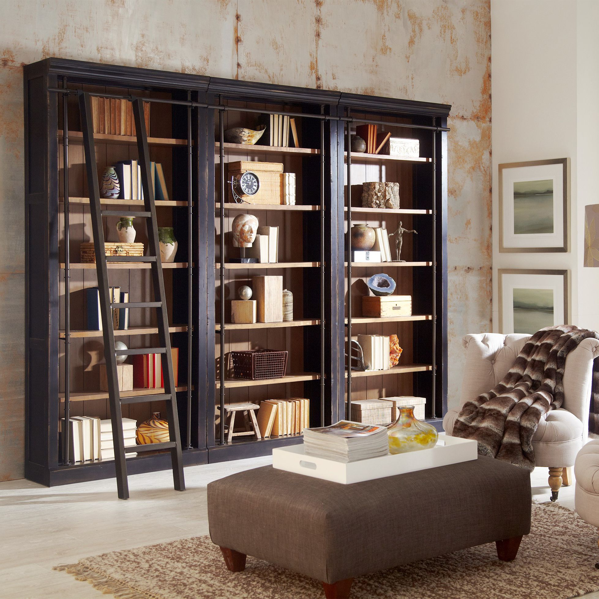 toulouse aged ebony 6shelf home library 3bookcase wall