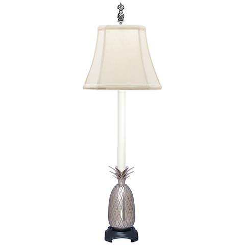 Popham Pineapple Pewter Buffet Table Lamp with Off-White Shade