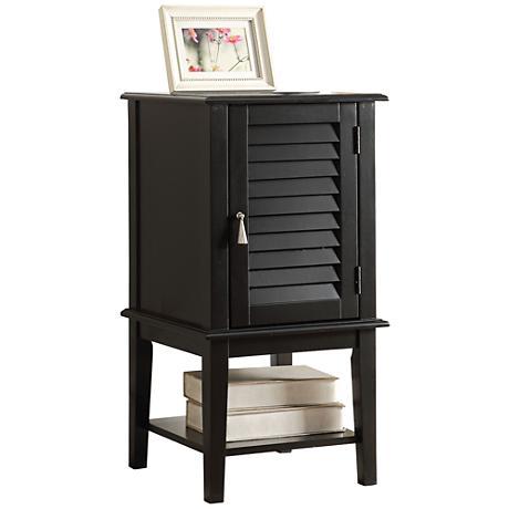 Hilda Black Shutter Slat-Door Small Floor Storage Cabinet