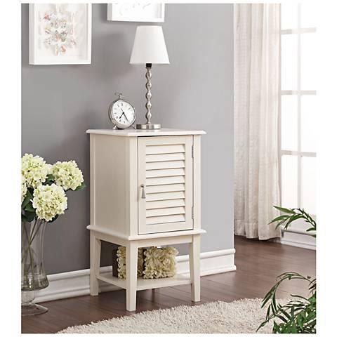 Hilda White Shutter Slat-Door Small Floor Storage Cabinet