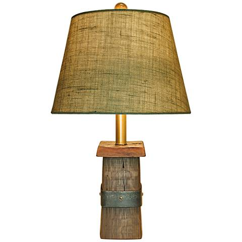 Santa Rosa Wood Table Lamp with Burlap Shade