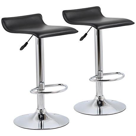 Classic Steegie Black Adjustable Barstool Set of 2
