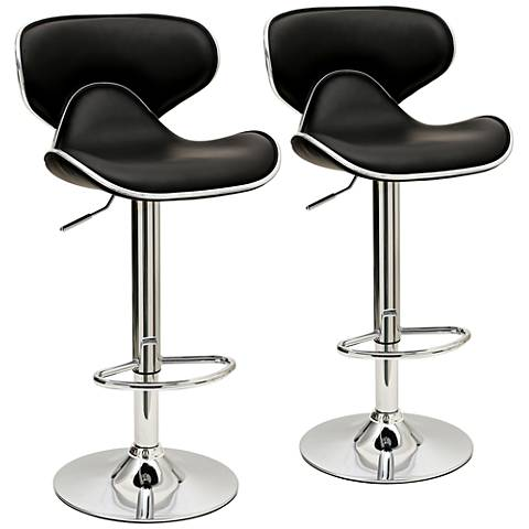 Classy Pablo Black Faux Leather Adjustable Barstool Set of 2