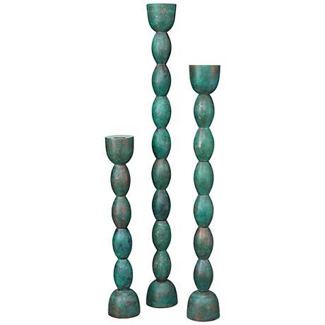 Brancusi Green Patina 3-Piece Taper Candlestick Set