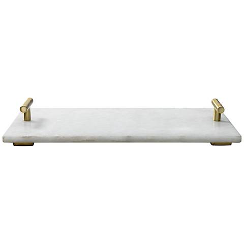 Jamie Young Carter White Marble Antique Brass T-Handle Tray