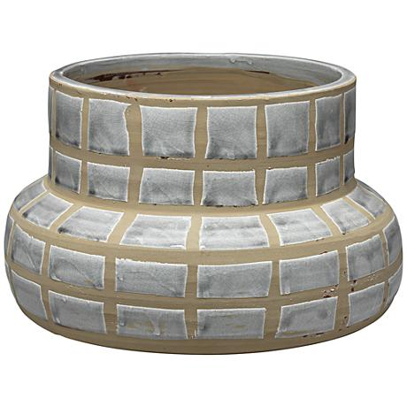 "Jamie Young Maxie Grid Gray 14"" Wide Ceramic Vase"