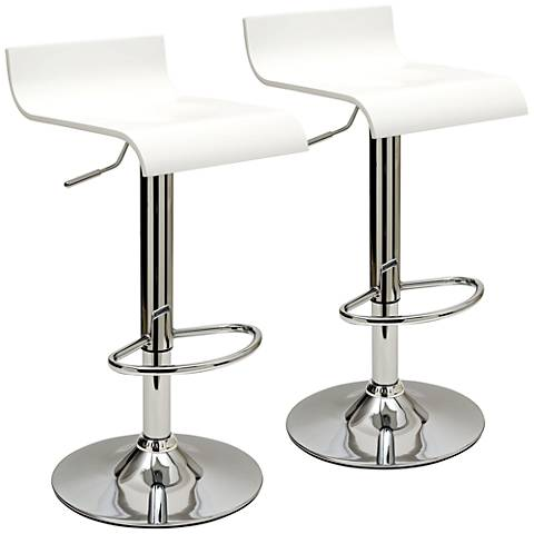 Practical Ludlow White Adjustable Barstool Set of 2