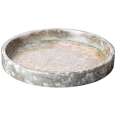 Jamie Young Cassie Silver and Gold Marble Large Low Bowl