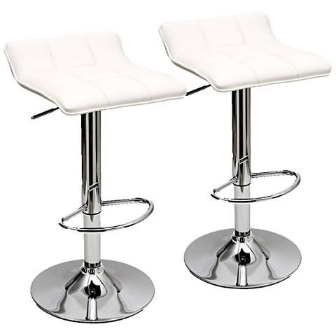 Sleek Varick White Faux Leather Adjustable Barstool Set of 2