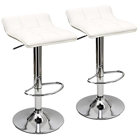 Sleek Varick White Faux Leather Adjustable Barstool Set of 2