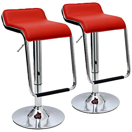 Sophisticated Horatio Red Adjustable Barstool Set of 2