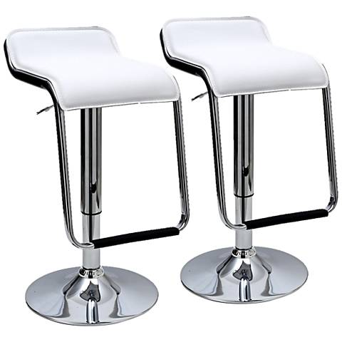 Sophisticated Horatio White Adjustable Barstool Set of 2