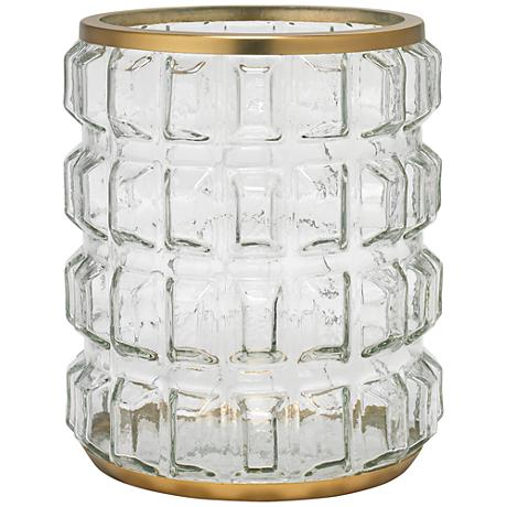 Madison Clear Glass and Antique Brass Hurricane Candle Holder