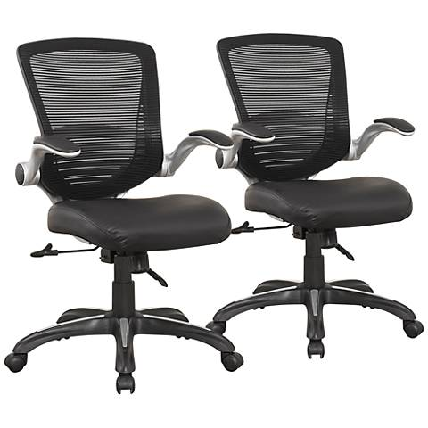 Ergonomic Walden Black Faux Leather Office Chair Set of 2