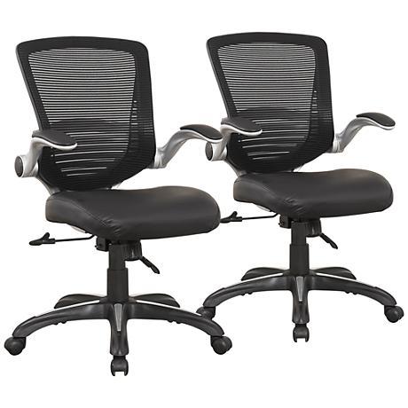 Ergonomic Walden Black Faux Leather Office Chair Set of 2