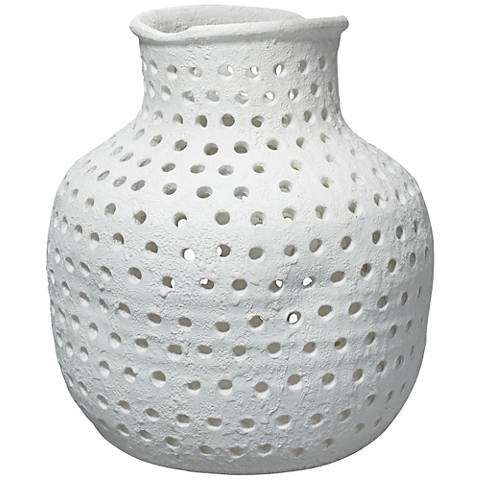 "Jamie Young Porous Matte White 19"" High Ceramic Vase"