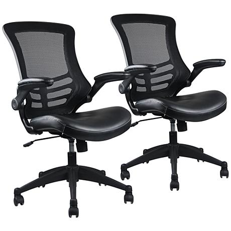 Intrepid Black Faux Leather Adjustable Office Chair Set of 2