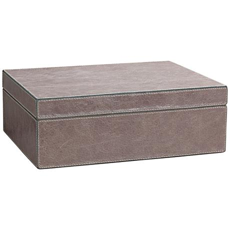 Jamie Young Sebastian Taupe Leather Box