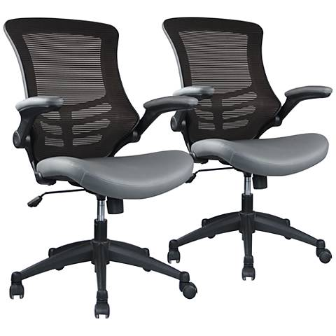 Intrepid Coffee and Gray Adjustable Office Chair Set of 2