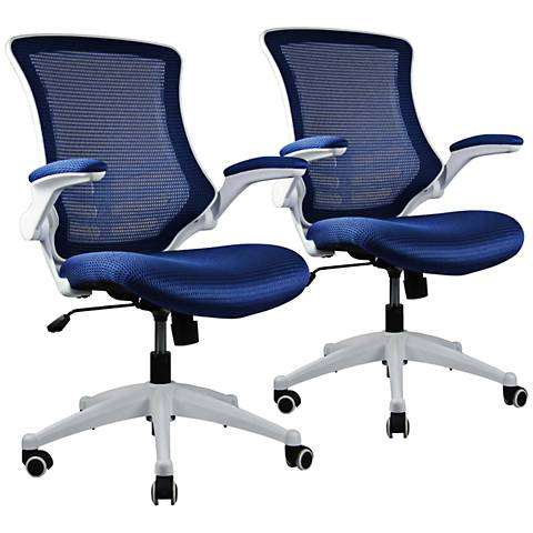 Lenox Royal Blue Mesh Adjustable Office Chair Set of 2