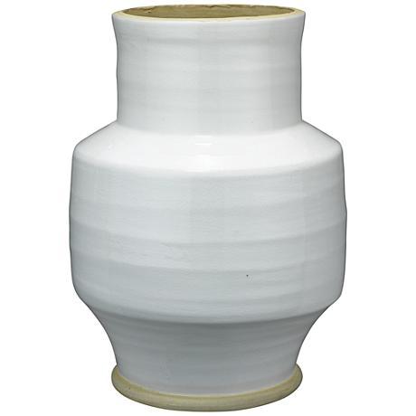 """Jamie Young Solstice White 13"""" High Ceramic Vase"""