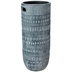 "Jamie Young Zion Gray and White 24"" High Ceramic Vase"