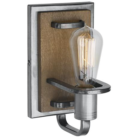 """Varaluz Lofty 9"""" High Wheat and Steel Wall Sconce"""