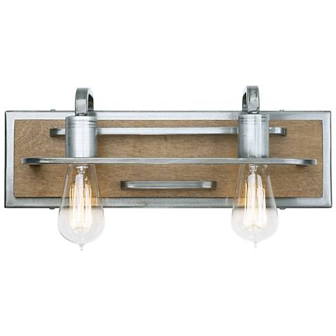 "Varaluz Lofty 6""H 2-Light Wheat and Steel Wall Sconce"