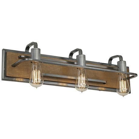 "Varaluz Lofty 25 3/4 ""W 3-Light Wheat and Steel Bath Light"