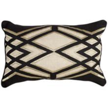 "Cosmic Black Geometric 24""x16"" Throw Pillow"