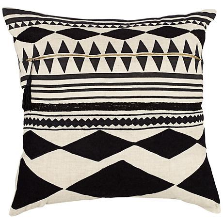 "Cosmic Black Geometric 22"" Square Throw Pillow"