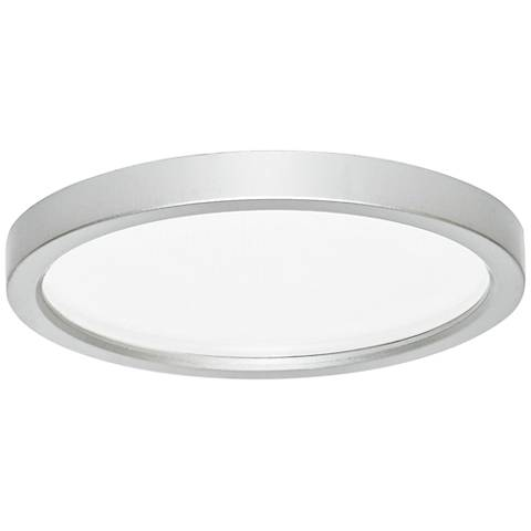 "Slim Disk 5 1/2""W Nickel 9W LED Round Surface-Mount Light"