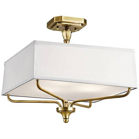 """Kichler Arlo 15"""" Wide Natural Brass Square Ceiling Light"""