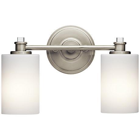 joelson 2 light 14 w brushed nickel bath light 9y292 lamps plus. Black Bedroom Furniture Sets. Home Design Ideas
