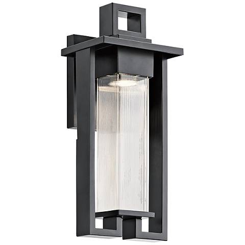 "Kichler Chlebo 16 1/2""H Black Outdoor Halogen Wall Light"