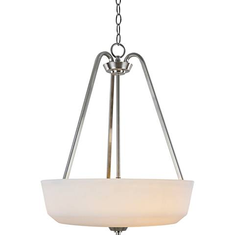 "Hudson 18""W Brushed Nickel and Opal Glass Pendant Light"